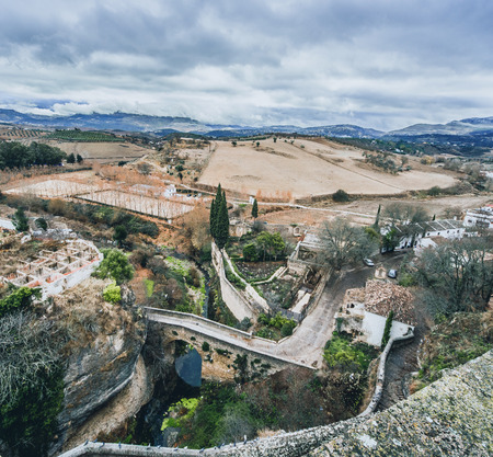 andalusia: View of Ronda and surrounding countryside  Province of Malaga, Andalusia, Spain