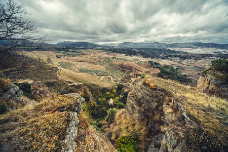 andalusia: View of Ronda and surrounding countryside from the top  Province of Malaga, Andalusia, Spain Stock Photo