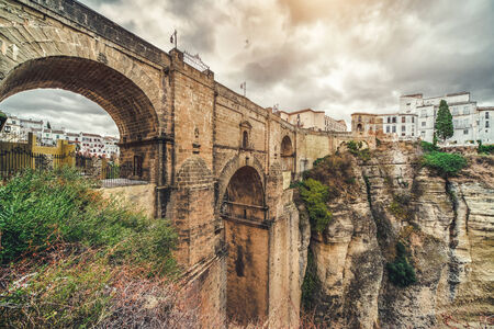 andalusia: The Puente Nuevo bridge and Picturesque view of Ronda city  Province of Malaga, Andalusia, Spain