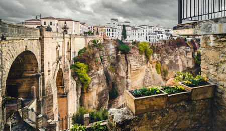 The Puente Nuevo bridge and Picturesque view of Ronda city  Province of Malaga, Andalusia, Spain
