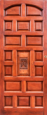 wood panelled: Ancient wooden brown door Stock Photo