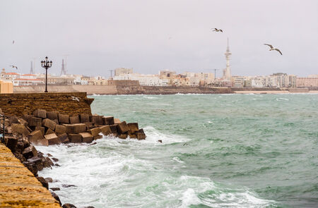 cadiz: Cadiz quay in stormy weather  Southwestern Spain