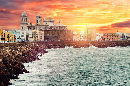 Picturesque view of Cadiz quay and Cathedral Campo del Sur at sunrise  Southwestern Spain