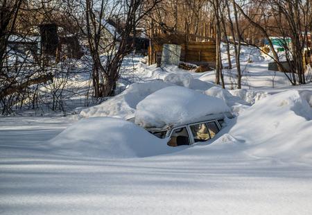 kamchatka: Car covered in snowdrift  Kamchatka, Russia Stock Photo