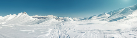 snowbanks: Panorama of Pinachevsky pass, route through a ridge in Kamchatka  Far East, Russia Stock Photo