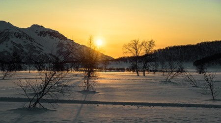 snowbanks: Nalychevo Nature Park at sunrise  Kamchatka Peninsula, Far East  Russia