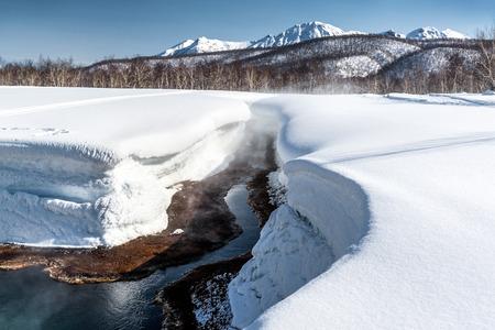 far east: Griffin Ivanova, de aguas termales en el sitio de Parque Nacional Nalichevo Unesco Patrimonio de la Humanidad de Kamchatka, Extremo Oriente de Rusia