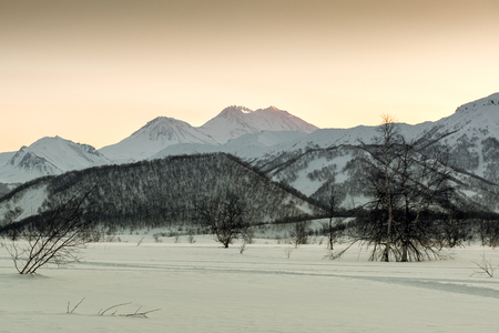 the far east: View of Nalychevo Nature Park and Zhupanovsky volcano at sunrise  Kamchatka, Far East  Russia