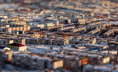 the far east: Petropavlovsk-Kamchatsky cityscape  Far East, Russia  Image with an tilt-shift effect Stock Photo