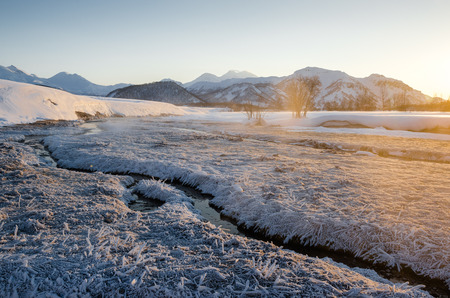 View of Nalychevo Nature Park and Zhupanovsky volcano at sunrise  Kamchatka, Far East  Russia
