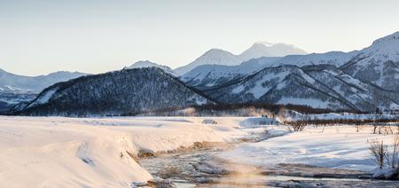 snowbanks: Nalychevo Nature Park at sunrise  Kamchatka, Far East, Russia Stock Photo
