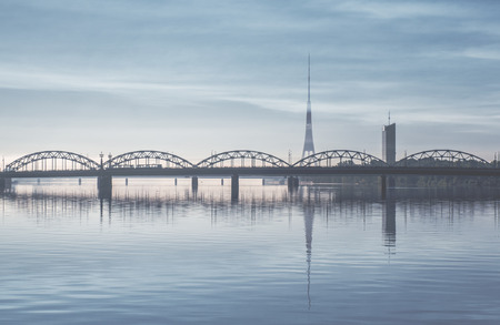 Railway bridge over the Daugava river. Riga, Latvia   photo