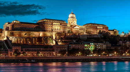 architectural heritage of the world: Royal Palace or Buda Castle at evening  Budapest, Hungary
