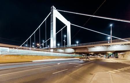 elisabeth: Night view of Elisabeth Bridge  Erzsebet hid    Budapest, Hungary Stock Photo