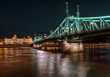 architectural lighting design: Liberty Bridge over Danube river in Budapest, Hungary