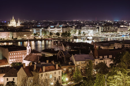 View of Pest at night, eastern part of Budapest  Hungary photo