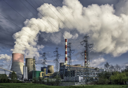 thermal pollution: Day view of power plant, smoke from the chimney