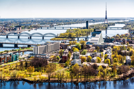 highrise: Panorama of Riga city  Latvia Stock Photo