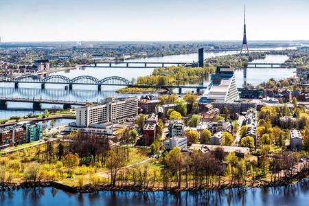 riga: Panorama of Riga city  Latvia Stock Photo