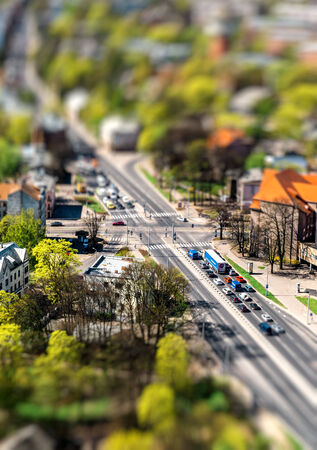 neighbourhood: Riga city road with tilt-shift effect  Latvia Stock Photo
