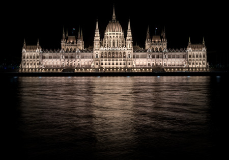 Hungarian Parliament Building at night  Budapest, Hungary photo