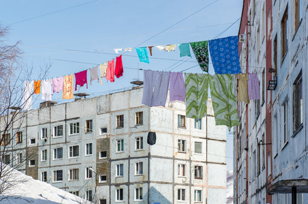 dwelling: Clothes drying outdoor  Petropavlovsk-Kamchatsky  Far East, Russia Stock Photo