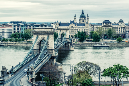 Chain Bridge  Budapest city  Hungary photo