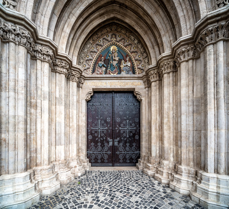 gothic church: Entrance to the Matthias Church  Budapest, Hungary