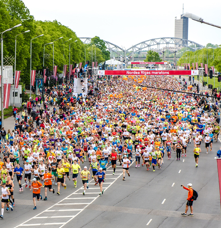 LATVIA, RIGA-18 may,2014:The 24th Nordea Riga marathon,at this time the marathon gained international recognition and previous marathon on 2013 gathered 22020 runners from 65 countries on 18 may 2014