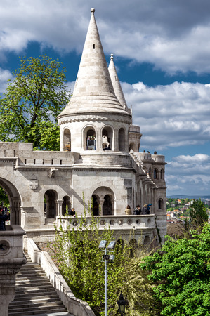 Budapest, Hungary-april 15, 2014: View of Fishermans Bastion, is one of the most-visited attractions in Budapest, on 15 april 2014