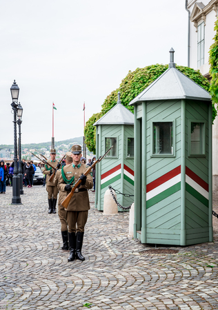 BUDAPEST, HUNGARY-17  april, 2014: Changing of the Guards in the Buda Castle,  one of the Buda Castle attractions on april 17, 2014