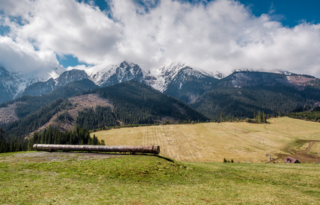 piste: Picturesque view of piste and High Tatras in springtime. Slovakia
