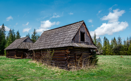 wooden houses: Deserted old houses. Photo taken in Poland Stock Photo
