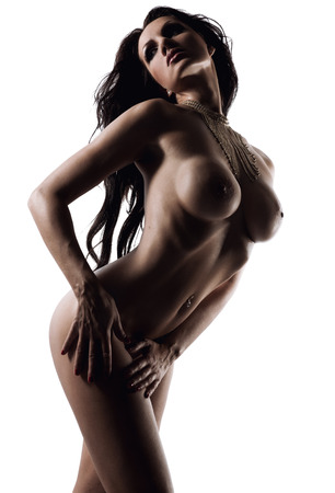 bare breast: Naked brunette over white background