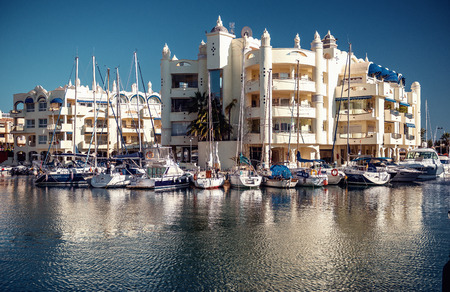 Benalmadena, Spain-19 December, 2013:View of Puerto Marina, that has won the title of Best Marina in the World several times. It has a very unusual and modern architecture on 19 december, 2013