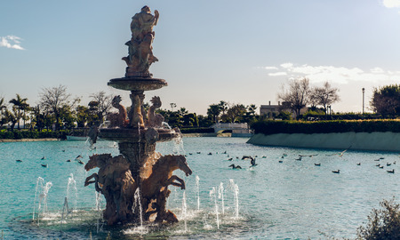View of Neptune Fountain in Baroque style  Battery Park, Torremolinos  Spain photo