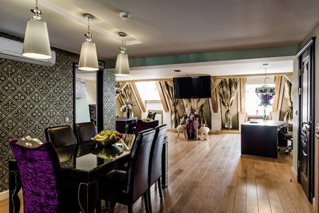 violet residential: Luxury interior of modern dining room