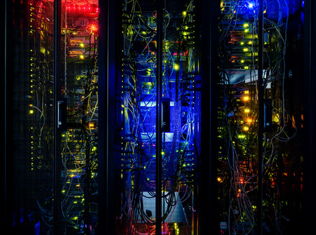 server: Server rack cluster in a data center  Stock Photo