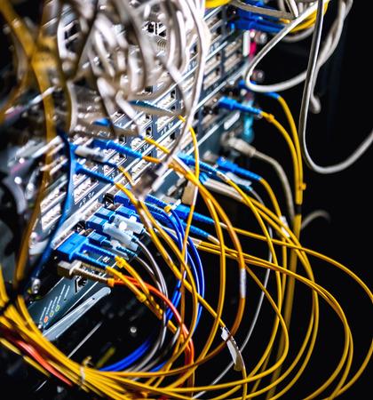 Fiber-optic equipment in a data center photo