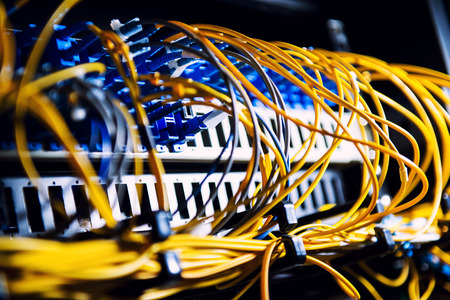 web hosting: Fiber-optic equipment in a data center