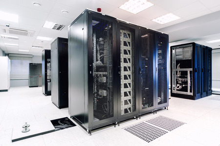 web hosting: Server room Stock Photo