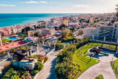 マラガ スペイン トレモリノスの海岸の美しい景色 写真素材