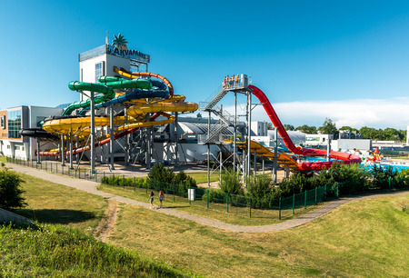 jurmala: Jurmala, Latvia-July 19, 2014: Day view of Livu Aquapark, biggest covered multi-functional water park in the Baltics and Eastern Europe, located in resort town Jurmala, Latvia on July 19.2014.