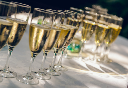 Glasses of champagne for a wedding reception photo