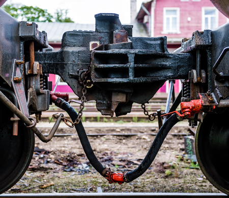 Train coupler close-up photo