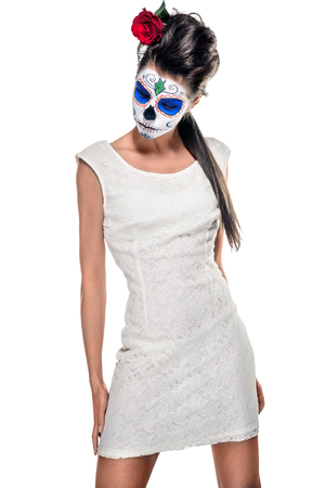 mexican girl: Day of the dead girl with sugar skull makeup   Stock Photo