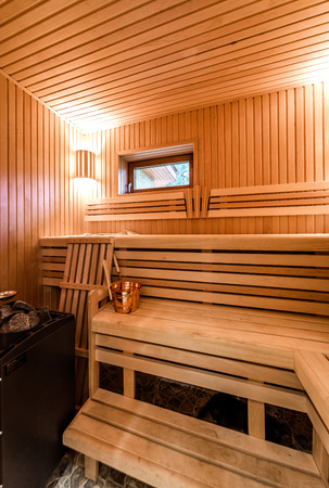 Inside of modern Finnish sauna photo