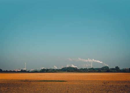 coal plant: Nature landscape and smoke from the chimney Stock Photo