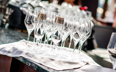 Empty glasses in restaurant photo