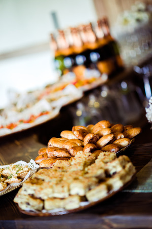holiday catering: Trays with various appetizers close-up
